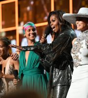 LOS ANGELES, CA - FEBRUARY 10:  (L-R) Lady Gaga, Jada Pinkett Smith, Alicia Keys, Michelle Obama, and Jennifer Lopez speak onstage during the 61st Annual GRAMMY Awards at Staples Center on February 10, 2019 in Los Angeles, California.  (Photo by Emma McIntyre/Getty Images for The Recording Academy)